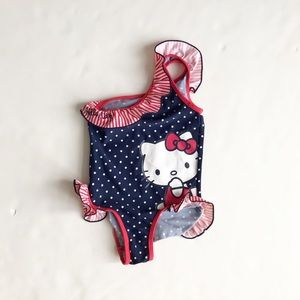 Hello Kitty shoulder swimsuit EUC 110/116( 5-6Y)